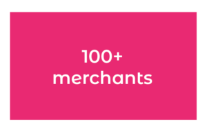 100+ merchants